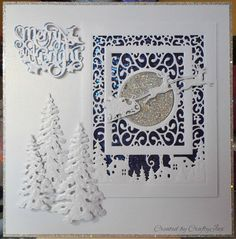 Christmas card made using Sue Wilson dies and a Die-sire sentiment die.