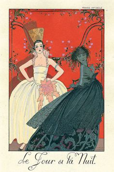 Day and Night, Fashion Illustration by George Barbier, Art Deco Spanish