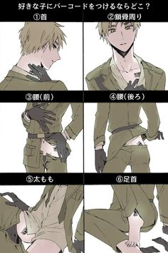 If there would be a barcode on Arthur's body, which part would be your favorite? >////< 1. neck 2. collar bone 3. waist (front) 4. waist(behind) 5. thigh 6. angkle