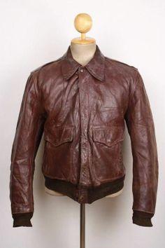 Vtg 1950s MONARCH Brown HORSEHIDE Leather Jacket MOTORCYCLE Flight 44