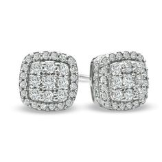 1 CT. T.W. Diamond Square Cluster Stud Earrings in 10K White Gold