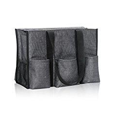 Thirty One Bags. Thirty One Zip-Top Organizing Tote in Charcoal Crosshatch - No Monogram - 4451.  #thirty #one #bags #thirtyone #onebags