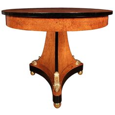 19th Century Neoclassical Style Burl Walnut and Ormolu Center or Side Table | 1stdibs.com