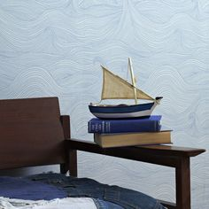 * Roll Size: x roll x * Repeat: Repeat * Material: renewably sourced FSC certified paper Seascape is a warm blue line drawing on a soft grey ground inspired by the rolling waves of a tempestuous sea designed to flow across your wall Nautical Wallpaper, Owl Wallpaper, Waves Wallpaper, Summer Wallpaper, Nature Wallpaper, Wallpaper Designs, Beautiful Wallpaper, Bathroom Wallpaper, Wallpaper Ideas