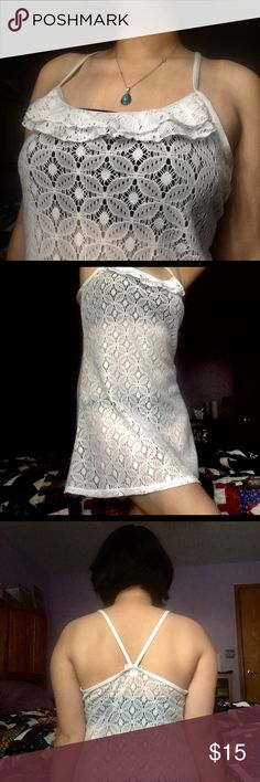 """White lace cover dress (not from forever 21) This lace cover dress is perfect to wear over a bathing suit by the pool or at the beach. You can also wear this as a boho dress for festivals if you want. I am 5'3"""" so the dress lands above my knees. Forever 21 Dresses Mini"""
