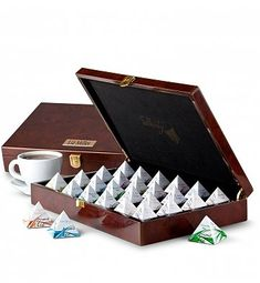 Personalized Keepsake Gifts: Wood Chest of Silken Tea Pyramids
