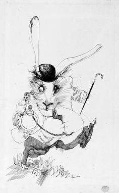 White Rabbit. Alice in Wonderland. Ralph Steadman