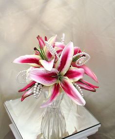 Stargazer Lily Bouquet Bridal Bouquets Rubrum Lily by UptownGirlzz