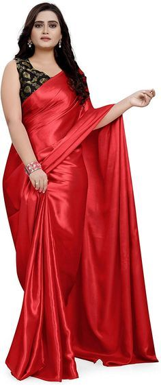 Satin Saree, Red Saree, Silk Sarees, Lace Saree, Simple Blouse Designs, Saree Blouse Designs, Beautiful Saree, Beautiful Dresses, Plus Size Mini Dresses