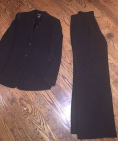 Ann Taylor Womens Black and White Pinstripe Pant Suit Lined s 10 | eBay