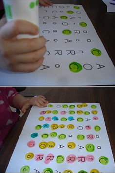 "printed out the letters and give direction to have a child dot mark each letter of his/her name with different color- e.g., ""Mark the letter ""C's"" green"" and ""Mark the letter ""o's"" yellow"", etc."