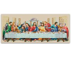 Kisstaker DIY Needlework The Last Supper Cross Stitch Handmade Arts, Crafts & Sewing Cross Stitch Fes, Cross Stitch Designs, Cross Stitch Patterns, Last Supper, Jesus On The Cross, Handmade Art, Sewing Crafts, Needlework, Embroidery