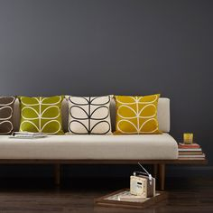 Orla Kiely New Retro Furniture Collection My Living Room, Home And Living, Orla Kiely Cushions, Orla Kiely Bedding, Sofa Cushions, Throw Pillows, Retro Furniture, Business Furniture, Futuristic Furniture