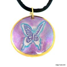 Butterfly pendant handcrafted porcelain magenta by IndigoTurtleArt, $25.00
