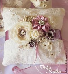 Bridal Ring Bearer Pillow and Decorations Set by Dolce Kvitka) Ring Bearer Pillows, Ring Pillows, Wedding Ring Cushion, Wedding Pillows, Handmade Pillows, Decorative Pillows, Pillow Crafts, Pillow Inspiration, Silk Ribbon Embroidery
