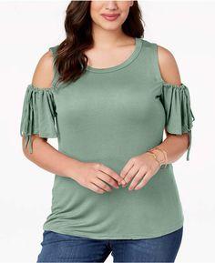 5ea1c0f705f4d ABASIX Trendy Plus Size Cold-Shoulder T-Shirt Plus Sizes - Tops - Macy s