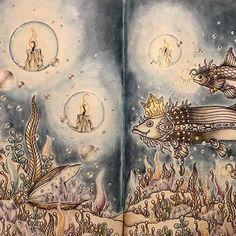 The treasure beneath. From #tidevarv #hannakarlzon #hannakarlzontidevarv #tidevarvmålarbok #coloring #coloringforadults #fabercastell #polychromos #tombow #irojiten