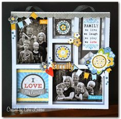 Me and My Thoughts: I Love My Family! Shadow box frame made with Core'dinations Colorcore Cardstock, Silhouette America Cameo, Adornit Family Patchwork collection.