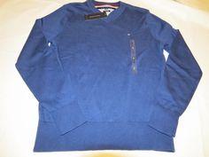 Mens Tommy Hilfiger long sleeve sweater shirt v neck 7864540 Twilight Blue 470 M #TommyHilfiger #sweater