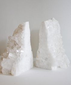 Large Natural White Quartz Bookends