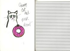 From my own sketchbook, Grumpy Cat with Donut. #sketchbook #croquera #dibujo #drawing #dessin #design #diseño #illustration #ilustracion