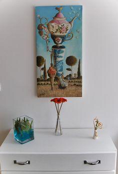 Tea Party Boot - Reproducción de Oil on canvas 40x80cm. Así quedaría puesto en pared montado en bastidor desnudo.