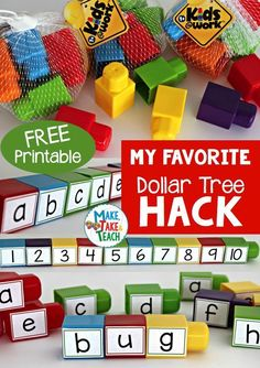 Favorite Dollar Tree Hack Free printable to creating your own word building blocks!Free printable to creating your own word building blocks! Kindergarten Centers, Kindergarten Classroom, Daycare Curriculum, Childcare, Kindergarten Morning Work, Alphabet Activities, Kindergarten Activities, Prek Literacy, Sight Word Activities