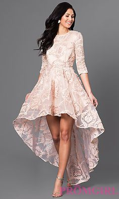 High-Low Lace Party Dress with Three-Quarter Sleeves at PromGirl.com