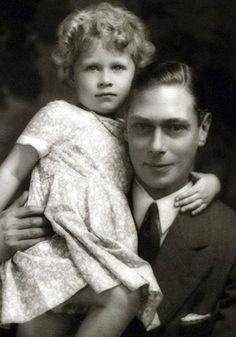 3 years old Princess Elizabeth cuddling up to her father George VI