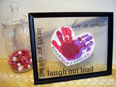 Check out the sweet Hand Print Heart Valentine Craft the kids and I made last year for Valentine's Day. Makes the perfect grandparent gift! B-InspiredMama.com