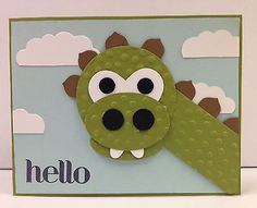Dinosaur-Punch-Art-Stampin-Up-Hello-Card-Kit-5-cards