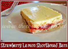 The Country Cook: Strawberry Lemon Shortbread Bars