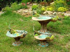 Bird Baths, Clay Sculptures, Clay Art, Flower Pots, Outdoor Decor, Creatures, Birds, Garden, Home Decor
