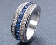 Luxusný prsteň zo zliatiny bieleho zlata s modrými zirkónmi Wedding Rings, Engagement Rings, Jewelry, Enagement Rings, Jewlery, Jewerly, Schmuck, Jewels, Jewelery