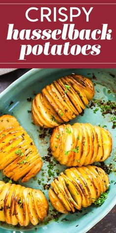Apr 2020 - Vertical slicing and an extra-long roast in the oven make these potatoes both beautiful and delicious. Look at all those crispy edges! Hasselback Potatoes, Parmesan Potatoes, Oven Baked Sliced Potatoes, Crispy Potatoes In Oven, Air Fryer Baked Potato, Rosemary Potatoes, Twice Baked Potatoes, Potato Sides, Veggies