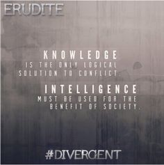 The Erudite faction is one of the Divergent Factions from the book from Veronica Roth and upcoming movie. Famous Erudite Divergent characters are Caleb Prior and Jeanine Matthews. The Erudite symbol represents the intelligent. Divergent Factions, Divergent Trilogy, Erudite, Divergent Party, Divergent Fandom, Dauntless Quotes, Divergent Quotes, Divergent Insurgent Allegiant, Veronica Roth