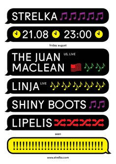 Juan Maclean at Bar Strelka - Kulachek Typographic Poster, Typography, Shiny Boots, Oui Ou Non, Web Design, Type Design, Material Design, Book Design, Poster Layout