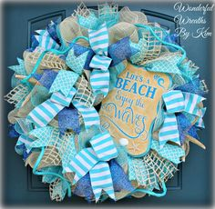 Beach wreath,deco mesh wreath,deco mesh beach wreath,summer wreath, everyday wreath - Lilly is Love Beach Crafts, Summer Crafts, Diy Wreath, Wreath Ideas, Wreath Making, Memorial Day Wreaths, Nautical Wreath, Deco Mesh Wreaths, Burlap Wreaths