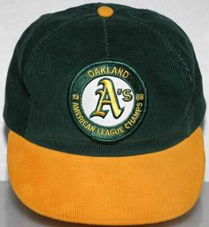 MLB Oakland A's 1988 American League Champs Corduroy Cap Adult Size Made In USA…