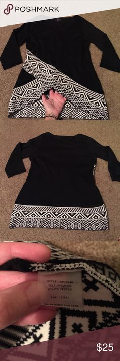 """Shirt This fabulous black boutique shirt/sweater has the best detail on the bottom ( see pix) It has a kris cross on the . This is from my """" Stitch Fix"""" monthly gifts. I hate to sell it but I need to clean my closed out!  3/4 length sleeves Tops Blouses"""