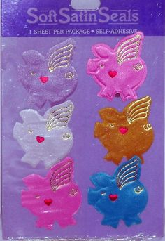 Package of Six Soft Satin Seals with Self Adhesive Winged Pigs Colorful #SoftSatinSeals