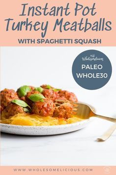 Hit the easy button for dinner with Instant Pot Turkey Meatballs with Spaghetti Squash! A complete meal that all cooks together in the Instant Pot. You'll love the red wine infused marinara sauce, and tasty Italian meatballs! Grain-Free, Gluten-free, and Paleo! It's comfort food to the rescue day! Turkey Meatballs and