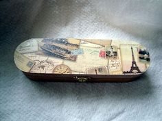 Paris trinket box for desk or dresser wood with by studiozuzu, $10.00