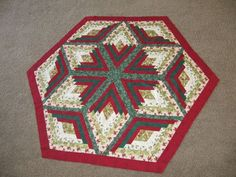 quilted table toppers free patterns | just completed this table topper. The pattern is Diamond Log Cabin ...