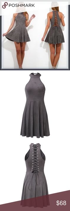 🆕 Gray Halter Fit and Flare Lace up back Dress ➖SIZE: Small, Medium, Large ➖STYLE: A faux suede fit and flare gray halter neckline dress with back that has a unique lace up design.    ❌NO TRADE   215809 Dresses