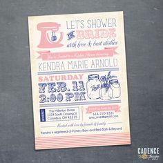 Kitchen Shower Invitation, Mason Jar Invitation, Bridal Shower Invitation