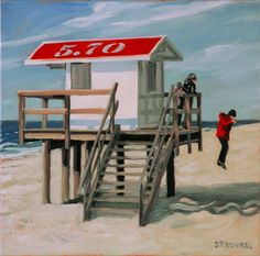 Jump - Sylter Impressionen 15, beach hut, Strand, beach, North Sea, Sylt, oil on canvas, 30 x 30 cm, Jean-Pierre Kunkel, fine art for sale