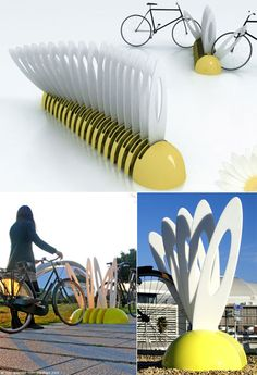 Marguerite Bicycle Rack by Yoann Henry Yvon: Concept design where each petal can be tilted and rotated.
