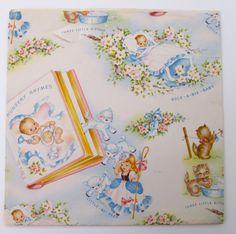 Vintage Baby Nursery Rhymes Gift Wrap  Full by vintagebeachkids, $5.99