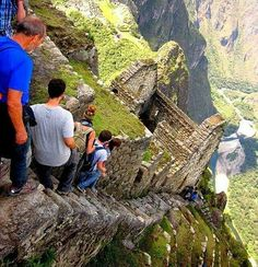 When you see pictures of Machu Picchu it's usually the big plateau picture.  You know,  the tourist picture, Llama optional.  I prefer a picture like this,  showing just how steep and narrow the climb is.  #  Photo by @janieurquieta  #  #machupicchu #inkatrail #topoftheworld